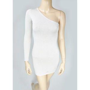BCBG One Shoulder Bodycon Silk Cotton Blend Shimme